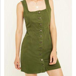 Urban Outfitters Green Button-Through Denim Dress